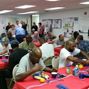 United Methodist Men from First UMC, Denham Springs share meal with homeless veterans